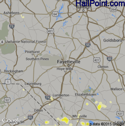 Hail Map for Fayetteville, NC Region on June 24, 2015