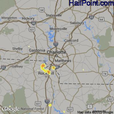 Hail Map for Charlotte, NC Region on June 24, 2015
