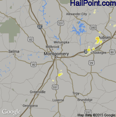 Hail Map for Montgomery, AL Region on June 24, 2015