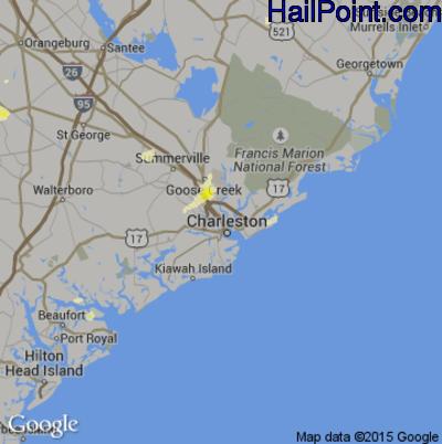 Hail Map for Charleston, SC Region on June 25, 2015