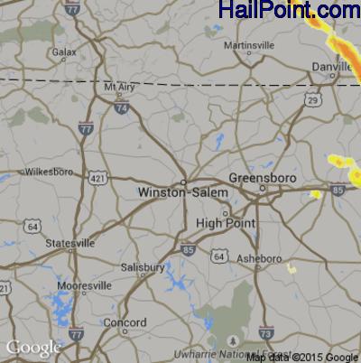 Hail Map for Winston-Salem, NC Region on June 25, 2015