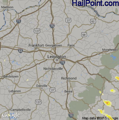Hail Map for Lexington, KY Region on June 25, 2015
