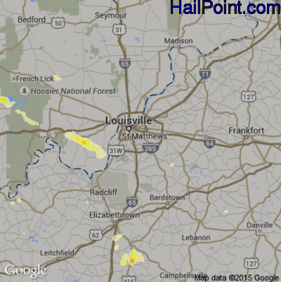 Hail Map for Louisville, KY Region on June 25, 2015
