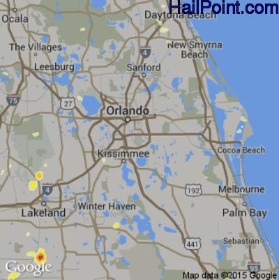 Hail Map for Orlando, FL Region on June 25, 2015