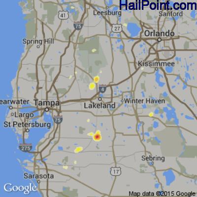 Hail Map for Lakeland, FL Region on June 25, 2015