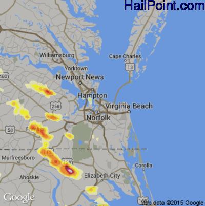 Hail Map for Norfolk, VA Region on June 25, 2015
