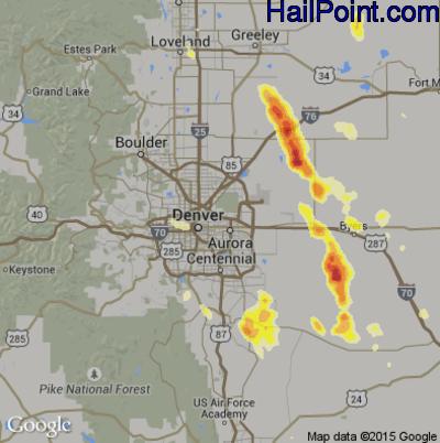 Hail Map for Denver, CO Region on June 25, 2015