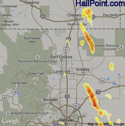 Hail Map for Fort Collins, CO Region on June 25, 2015