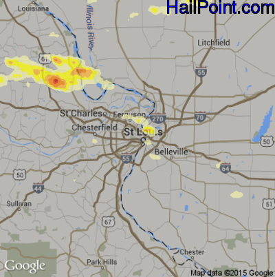 Hail Map for St. Louis, MO Region on June 25, 2015