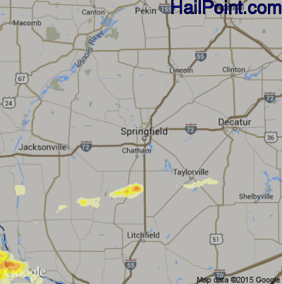 Hail Map for Springfield, IL Region on June 25, 2015