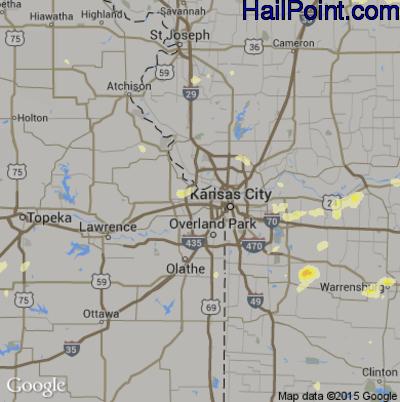 Hail Map for Kansas City, KS Region on June 25, 2015