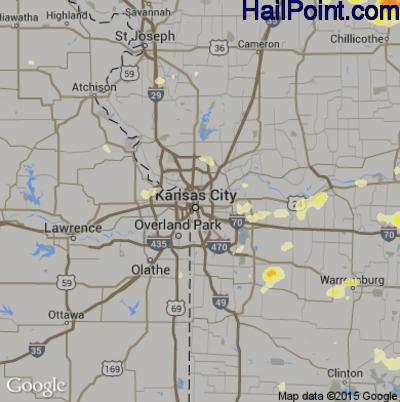 Hail Map for Kansas City, MO Region on June 25, 2015