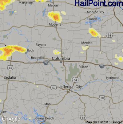 Hail Map for Columbia, MO Region on June 25, 2015