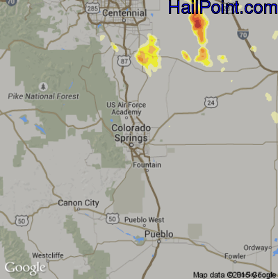 Hail Map for Colorado Springs, CO Region on June 25, 2015
