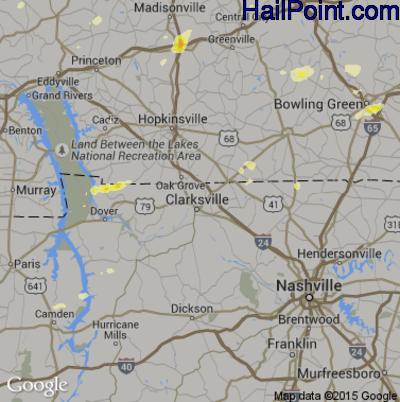 Hail Map for Clarksville, TN Region on June 26, 2015