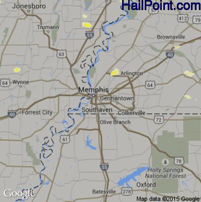 Hail Map for Memphis, TN Region on June 26, 2015