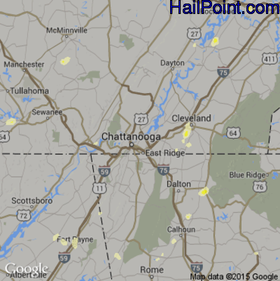 Hail Map for Chattanooga, TN Region on June 26, 2015