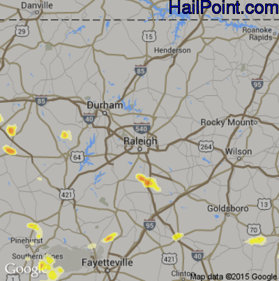 Hail Map for Raleigh, NC Region on June 26, 2015