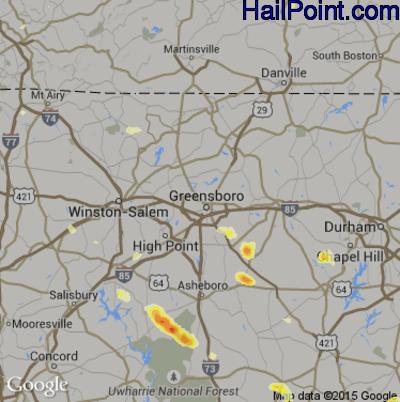 Hail Map for Greensboro, NC Region on June 26, 2015