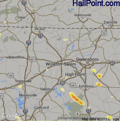 Hail Map for Winston-Salem, NC Region on June 26, 2015