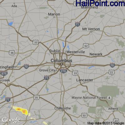 Hail Map for Columbus, OH Region on June 26, 2015