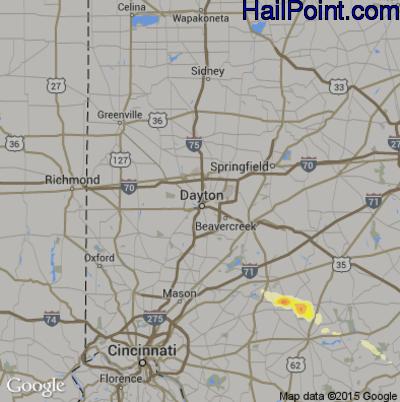 Hail Map for Dayton, OH Region on June 26, 2015