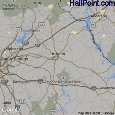 Hail Map for Athens, GA Region on June 26, 2015