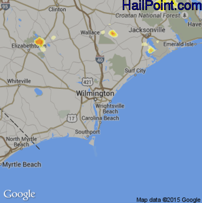 Hail Map for Wilmington, NC Region on June 26, 2015