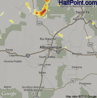 Hail Map for Albuquerque, NM Region on June 27, 2015