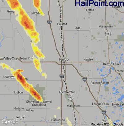 Hail Map for Fargo, ND Region on June 27, 2015