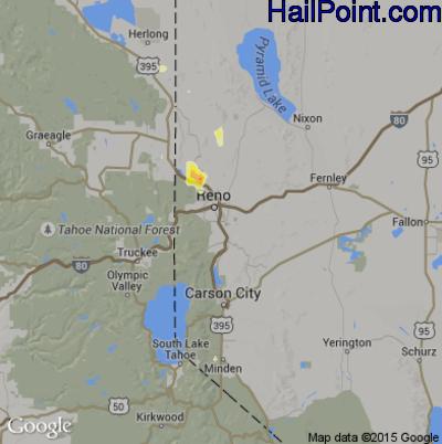 Hail Map for Reno, NV Region on June 28, 2015