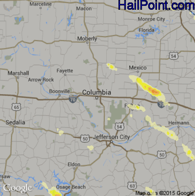 Hail Map for Columbia, MO Region on June 28, 2015
