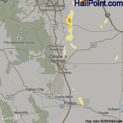 Hail Map for Colorado Springs, CO Region on June 28, 2015