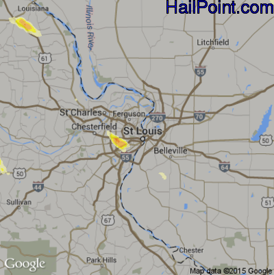 Hail Map for St. Louis, MO Region on June 28, 2015