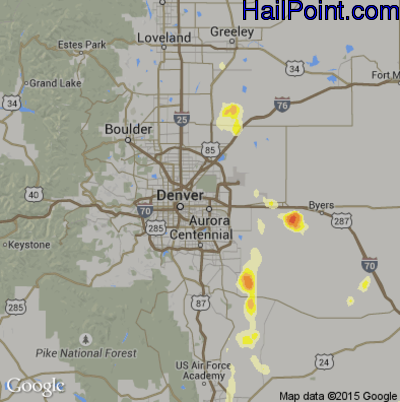 Hail Map for Denver, CO Region on June 28, 2015