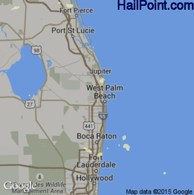 Hail Map for West Palm Beach, FL Region on June 29, 2015