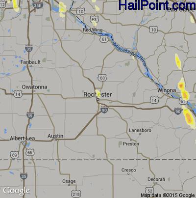 Hail Map for Rochester, MN Region on June 29, 2015