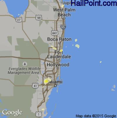 Hail Map for Fort Lauderdale, FL Region on June 29, 2015