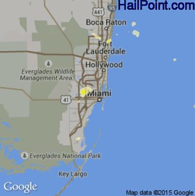 Hail Map for Miami, FL Region on June 29, 2015