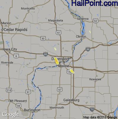 Hail Map for Davenport, IA Region on June 29, 2015