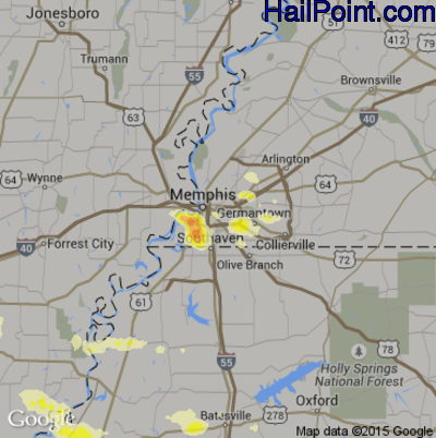 Hail Map for Memphis, TN Region on June 30, 2015