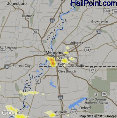 Hail Map for Memphis, TN Region on June 30, 2015