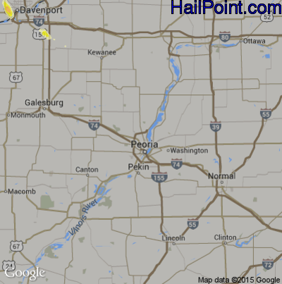 Hail Map for Peoria, IL Region on June 30, 2015