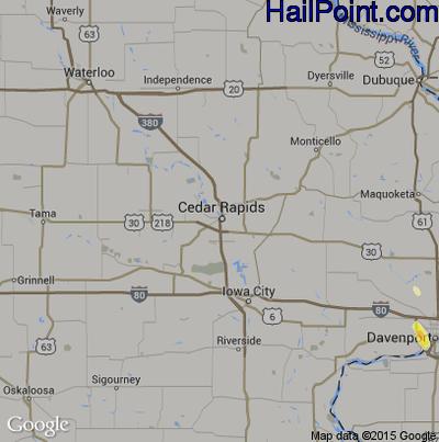 Hail Map for Cedar Rapids, IA Region on June 30, 2015