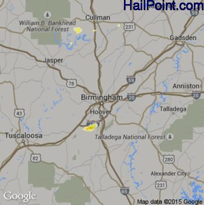 Hail Map for Birmingham, AL Region on June 30, 2015