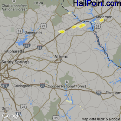 Hail Map for Athens, GA Region on June 30, 2015