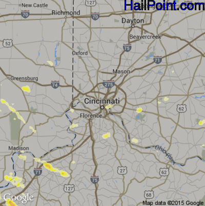 Hail Map for Cincinnati, OH Region on June 30, 2015