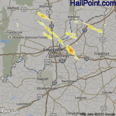 Hail Map for Louisville, KY Region on June 30, 2015