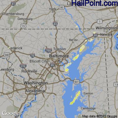 Hail Map for Baltimore, MD Region on June 30, 2015