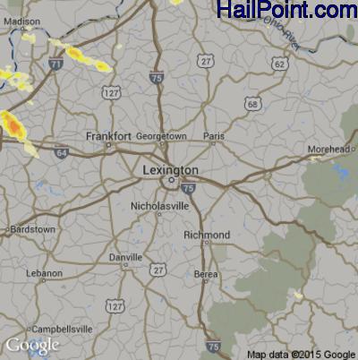 Hail Map for Lexington, KY Region on June 30, 2015